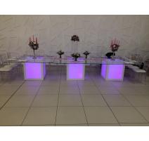 TABLE LUMINEUSE PLATEAU DE VERRE