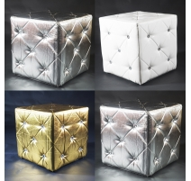 POUF CARRE  SILVER, BLANC, OR