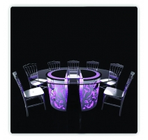 TABLE LUMINEUSE PLATEAU ROND DOUBLE SOCLES