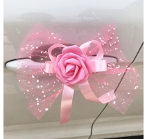 NOEUD DE  PAPILLON DECORATION VOITURE ROSE X 5