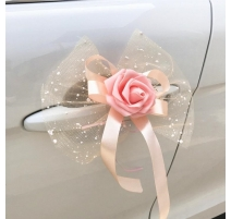 NOEUD DE  PAPILLON DECORATION VOITURE CHAMPAGNE X 5