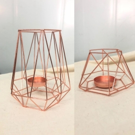 LANTERNE GEOMETRIQUE ROSE GOLD X10
