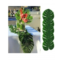 LOT DE 12 FEUILLES DE PLANTES ARTIFICIELLES VERT MONSTERA