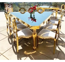 TABLE TRIANGLE MIROIR GOLD