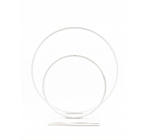 CENTRE DE TABLE DOUBLE CERCLE BLANC